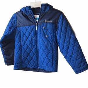 COLUMBIA Quilted Coat w/Hood, Size S